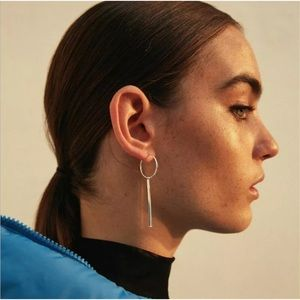 Dainty golden colored bar and hoop artsy earrings